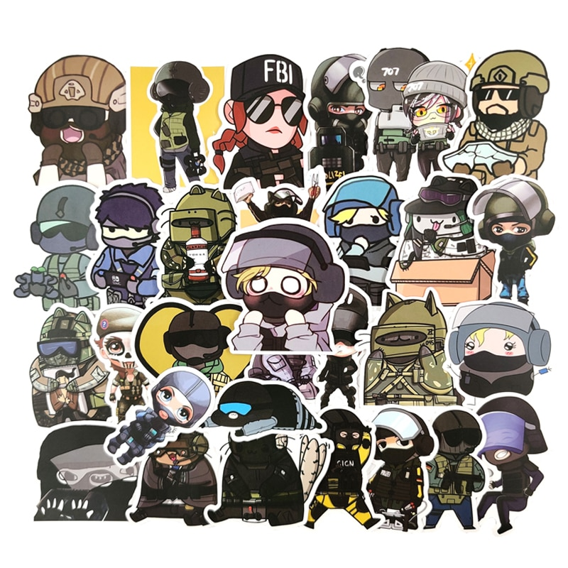 10/30/50pcs/pack Popular Games Tom Clancy's Rainbow Six Siege Stickers For Furniture Wall Desk DIY Chair Toy Car Trunk Computer