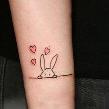 Autocollant de tatouage temporaire imperméable beau coeur lapin animal tatto flash tatoo faux tatouages pour enfants hommes femmes