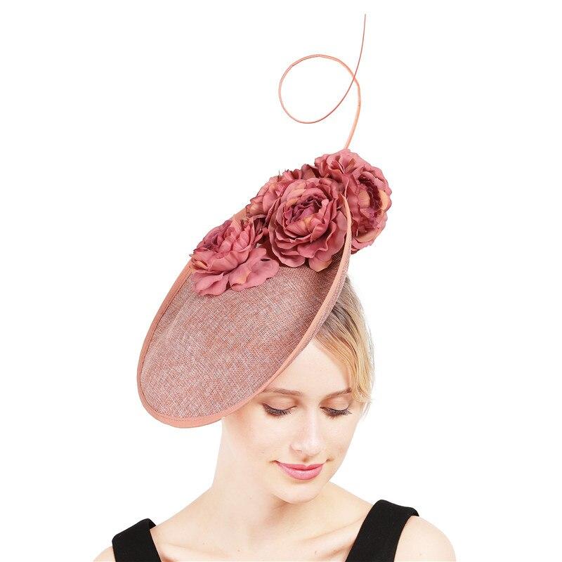 Generoso las mujeres gran derby sombrero sombreros tocados con elegantes sombreros con flores Accesorios Gorros para mujer cintas de fedora