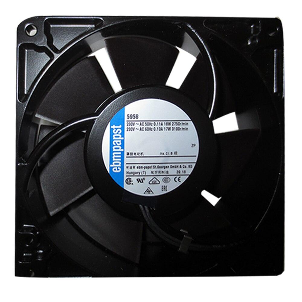 Ebmpapst-مروحة تبريد 5958 ، حجم 127x127x38 مللي متر ، 230 V AC ، تدفق الهواء 180m 3/h 2750rpm