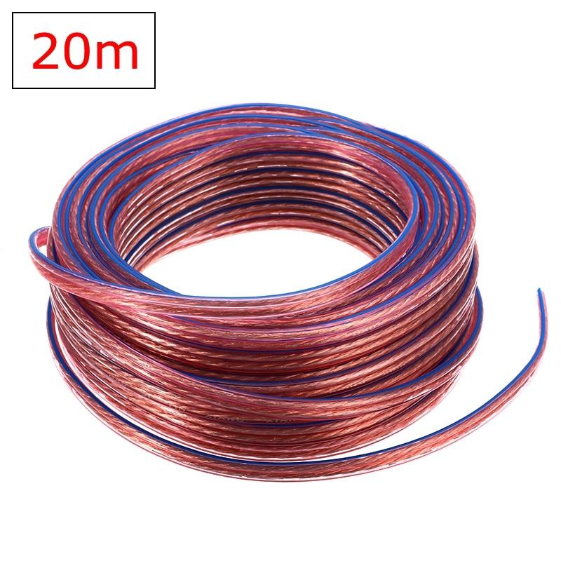 Cable de Audio de altavoz de 20M 2x0,75mm Cable Conductor de cobre sin oxígeno de alta pureza para amplificador