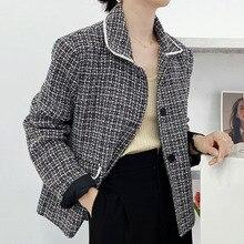 2021 New Korean Fashion Women Jacket Lattice Lapel Long Sleeve Single Breasted Autumn Winter Tempera