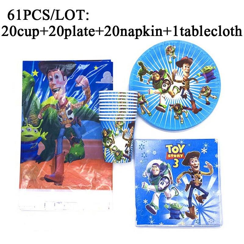 Desenhos animados disney brinquedo história fontes de festa conjunto para crianças decorações da festa de aniversário buzz luz ano tema guardanapos papel placas copos