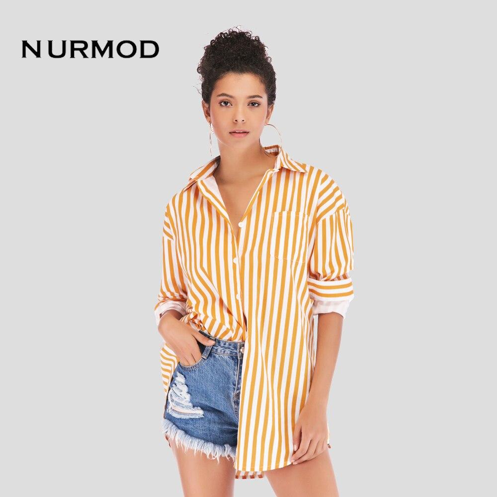 أنيق للمرأة كلاسيكي-تيشيرت ضيق بأكمام طويلة خفيفة الوزن زر أسفل قميص أصفر عمودي المشارب كبيرة الحجم BF نمط بلوزات علوية