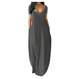 Dresses For Women Summer Fashion Print Striped Print Pocket Short sleeves Maxi Dress Female Casual Loose Party Dress