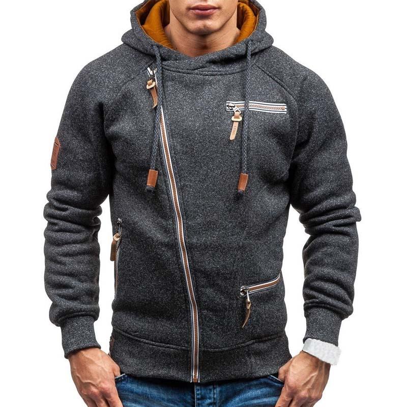 Толстовка мужская с капюшоном, повседневная однотонная кофта с длинным рукавом, Приталенный свитшот на молнии, уличная одежда, осень 2021