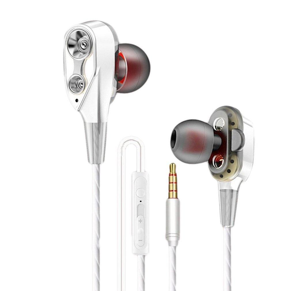 3.5mm Earphones With Microphone Dual Drive Stereo Wired Earphone In-ear Sport Portable Headset In-Ear Single Speaker