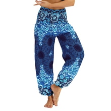 Laamei nouveau décontracté grande taille impression pantalon femme Vintage taille élastique été pantalon femme Streetwear bohème pantalon Sexy plage