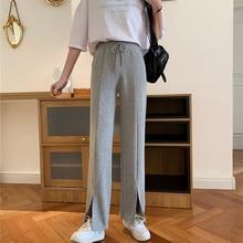 Real Shot Autumn Clothing Split Wide Leg Pants Women's New Loose