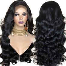 FANXITON-peluca sintética con malla frontal para mujer, pelo negro ondulado, sin pegamento, de fibra de alta temperatura, con flequillo en la parte lateral