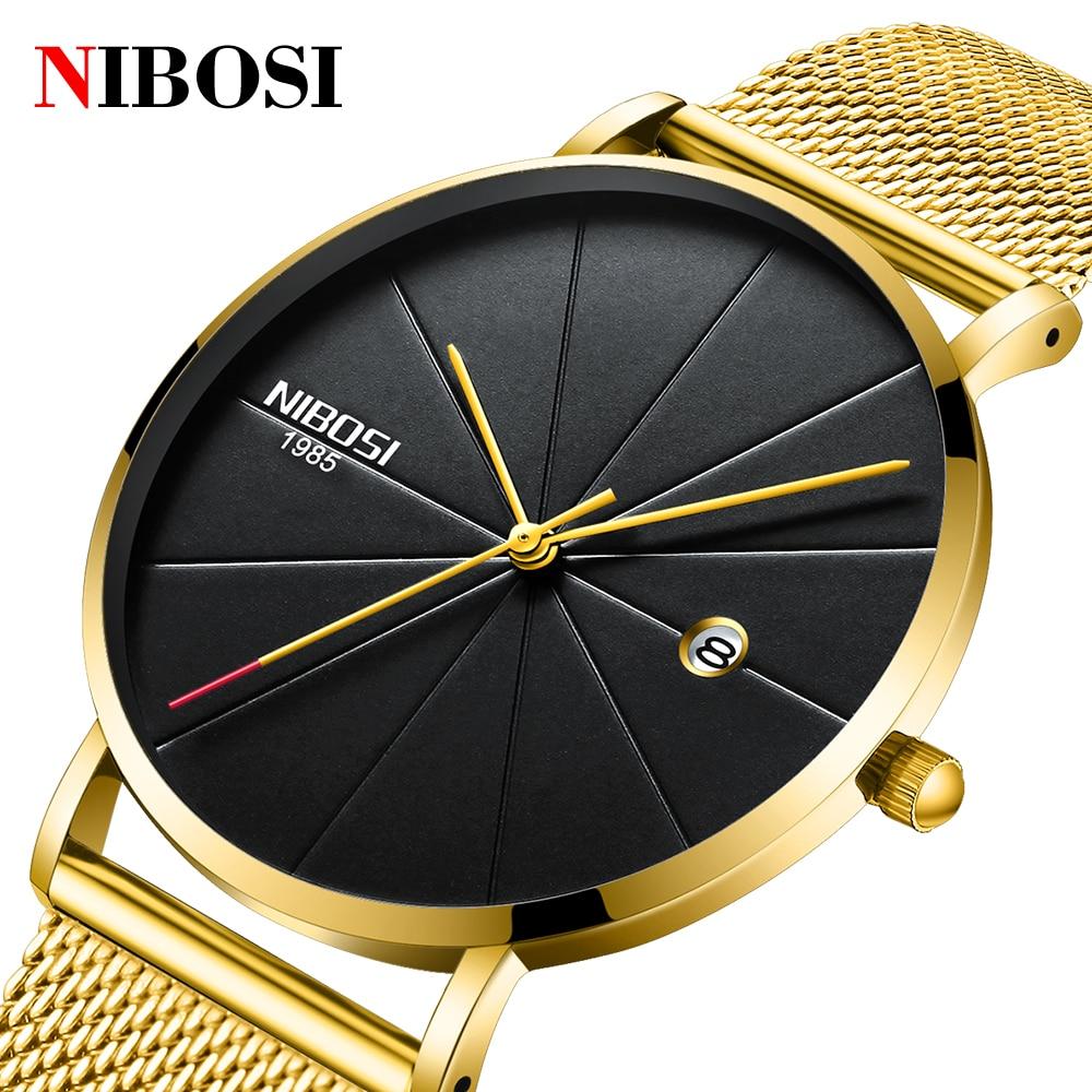 NIBOSI Ultra Thin Luxury Men Watch Top Brand Casual Quartz Watches Waterproof Sports Watch Male Clock Relogio Masculino