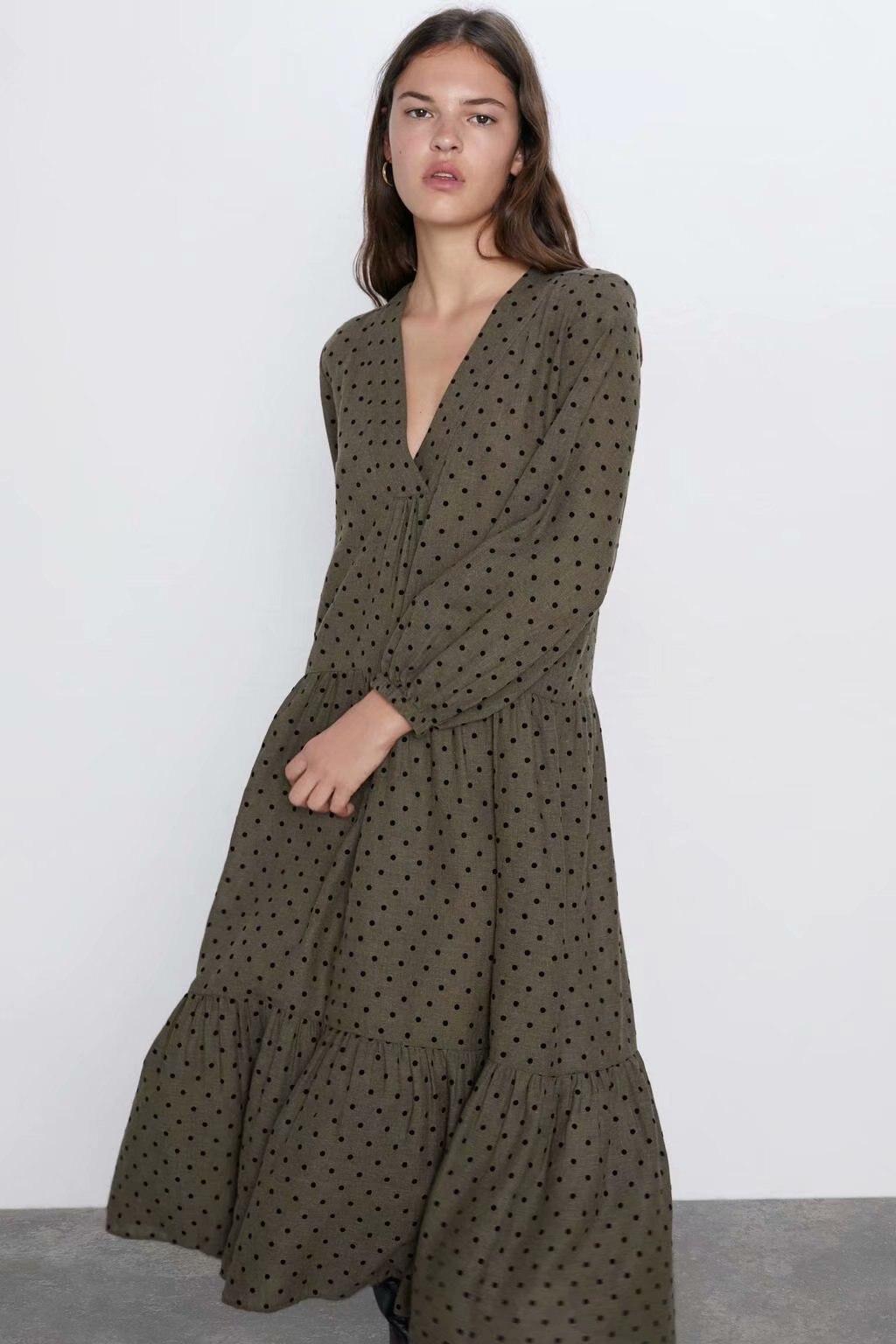 Novedad de primavera 2020, vestido de verano con dibujo de lunares verde militar para mujer, vestido vintage de talla grande XDN9152 de sheining vadiming