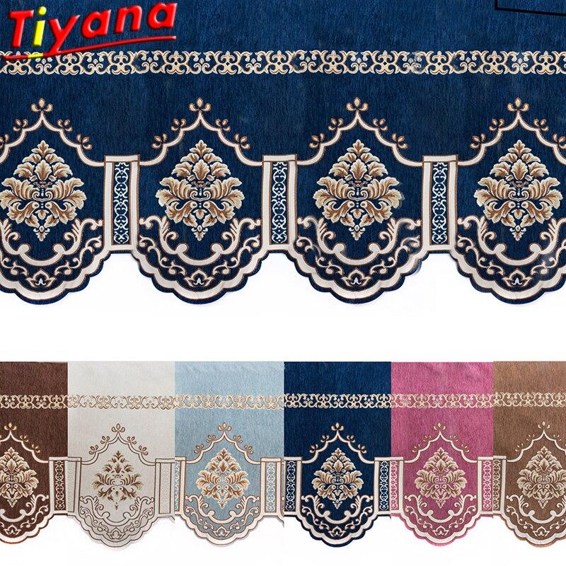 ستارة رومانية زرقاء/بنية ، شينيل ، جاكار ، ستارة نافذة أوروبية ، تنورة قصيرة مزخرفة ، HM072 #20