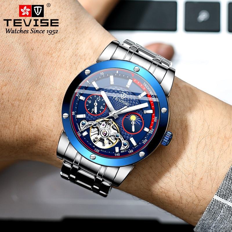 Relógio de Luxo à Prova Nova Moda Tevise Negócios Masculino Luminoso Relógio Mecânico Tourbillon Movimento Dwaterproof Água 2021