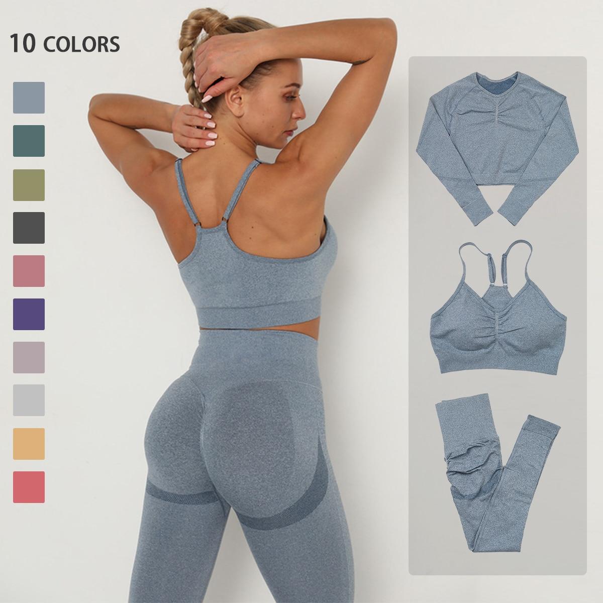 Seamless Yoga Set Women Workout Sportswear Gym Clothing Fitness Long Sleeve Crop Top High Waist Leggings+ Bra Sports Suits