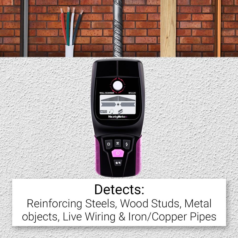 NicetyMeter WS120 Multi-Scanner Stud Finder AC Holz Kabel Drähte Tiefe Tracker Sanitär Undeground Sturs Wand Scanner LCD Signalton