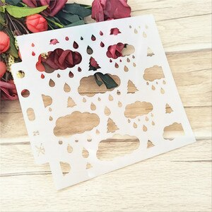 14.1*13cm rainy day stencils Cover template spray plastic mold shield DIY cake hollow Embellishment printing lace ruler
