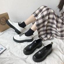 รองเท้าผู้หญิงรองเท้าหนัง Lace Up รองเท้า Oxford รองเท้าหนาด้านล่างรองเท้าส้นสูง Loafers รอบหัวแพลตฟอร์...