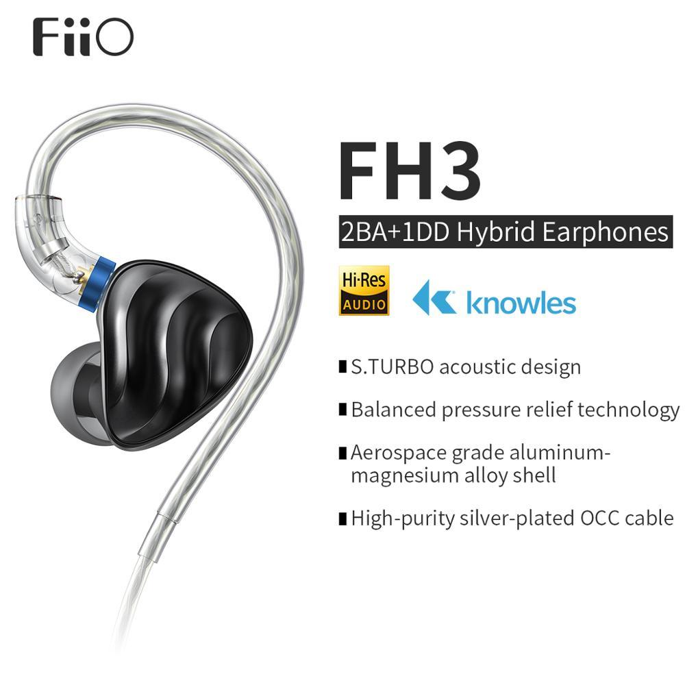 سماعات أذن HiFi داخلية مع محرك ثلاثي ، صوت جهير عالي الدقة ، للهواتف الذكية والكمبيوتر الشخصي ، FiiO FH3