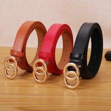 Cinturón Negro salvaje Retro coreano para mujer, hebilla redonda de doble anillo, cinturón de hebilla oscura lisa, Falda vaquera para estudiantes, novedad de 2020
