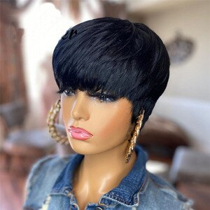 Short Cut Mixed hair Straight Wigs Natural Black Color Glueless Wigs Synthetic Hair For Women Full Machine Made With Silk top
