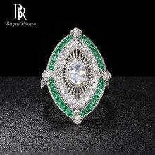 Bague Ringen Vintage luxe argent 925 bijoux carré pierres précieuses Bague pour femmes cristal émeraude Banquet femme cadeau en gros