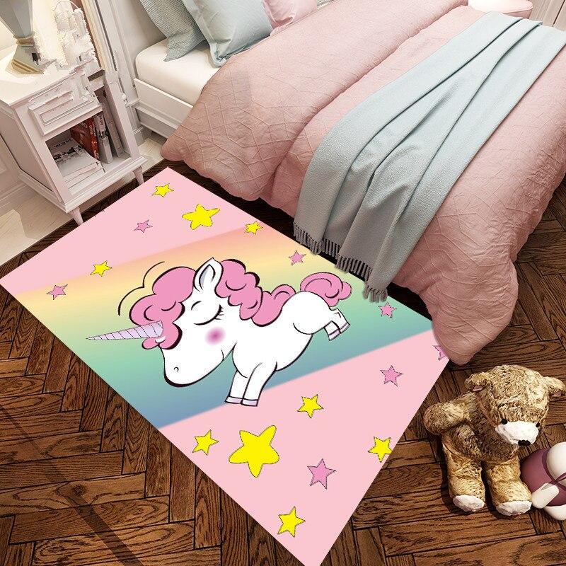 Tapetes para Sala de Estar Área do Jogo da Criança dos Desenhos Sonho Unicórnio Padrão Quarto Tapetes Animados 3d Impressão Crianças Jogo Tenda Tapete