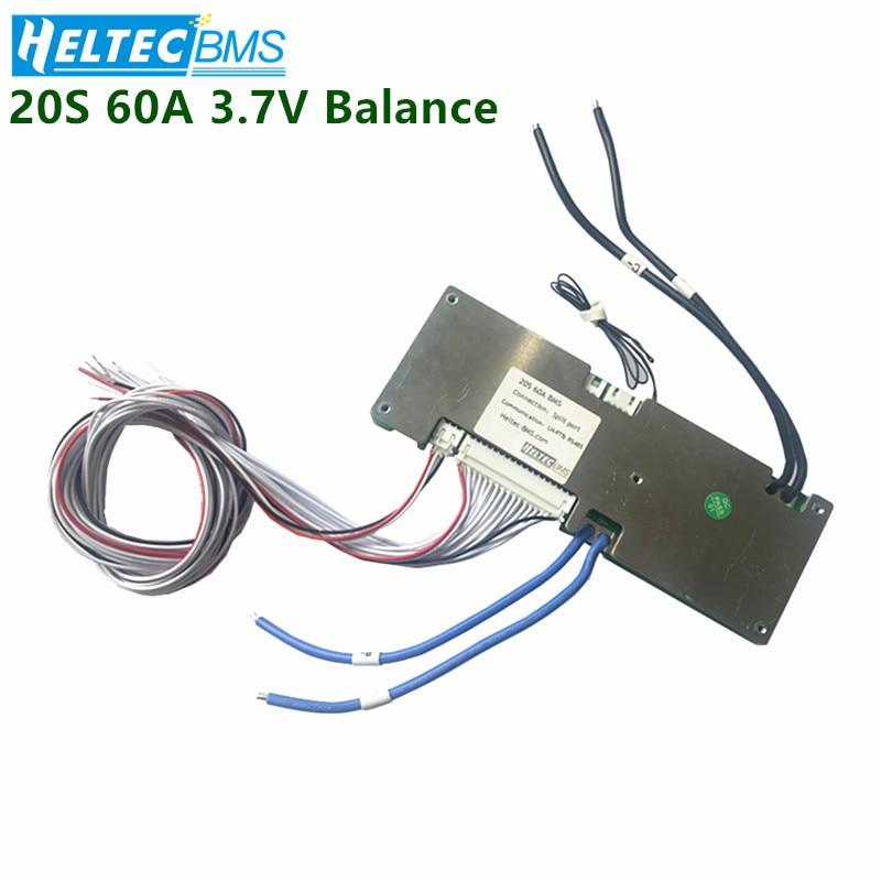 Bluetooth 20S 60A inteligente BMS 72V 74V Li-Ion 18650/Lipo Placa de protección de batería UART Bluetooth