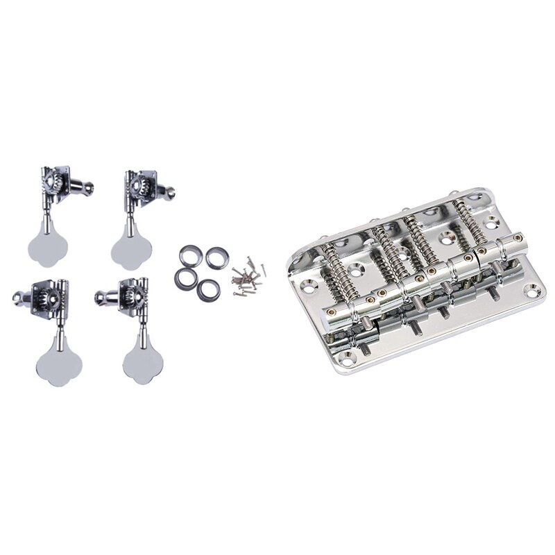 Hard Tail Fixed Bass Guitar Bridge with 4Pcs High Quality Silver Bass Tuning Pegs Tuner 2R2L Open Type Machine Head