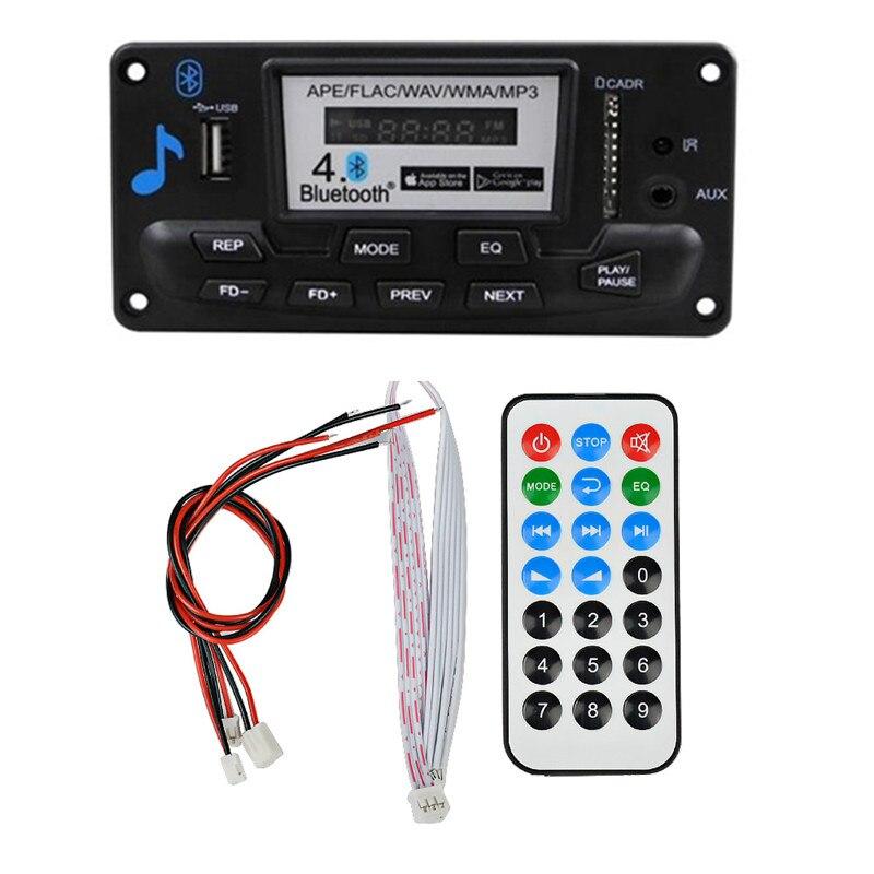 12 В ЖК-дисплей Bluetooth MP3 декодер плата WAV WMA декодирование MP3 плеер аудио модуль Поддержка FM радио AUX USB с музыкой текст дисплея