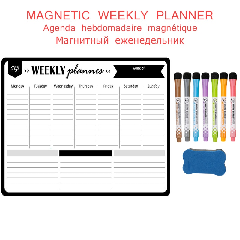 Magnetic Weekly Monthly Work Planner Wall Stickers Fridge Magnet Writing Memo Schedule Erasable Schedule Penboards Whiteboard