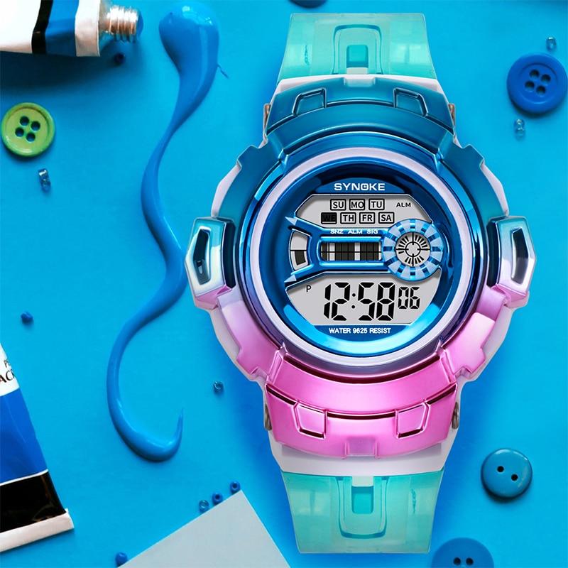 Synoke relógio de pulso para meninas, relógio digital eletrônico com gradiente colorido multifuncional para meninas e festas