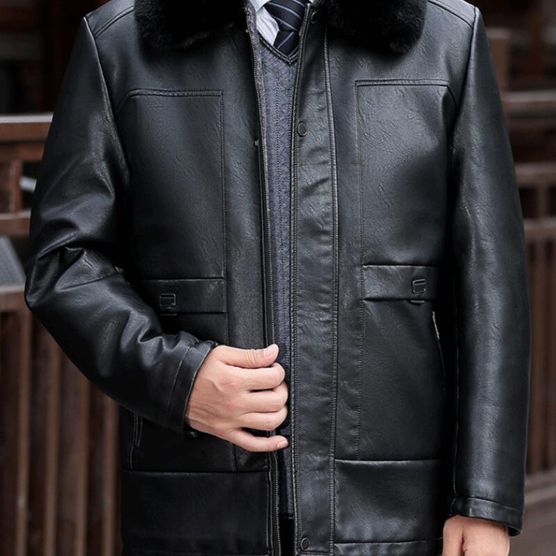 حار/الشتاء الرجال جديد أزياء شخصية كبيرة حجم زائد المخملية مبطن الدافئة الفراء طوق بو سترة مبطن سترة/L-5XL