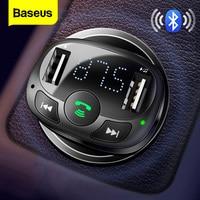 FM-трансмиттер Baseus с Bluetooth, Aux, аудио, mp3-плеер, FM-радио, двойной USB, быстрая зарядка, автомобильное зарядное устройство, FM-модулятор, автомобильн...