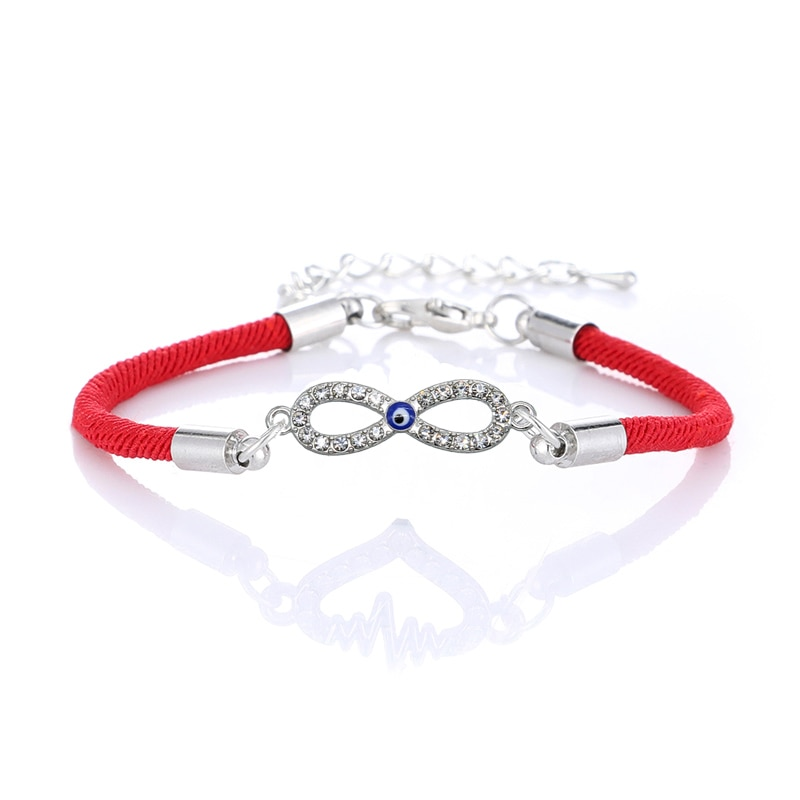 Ojo de la suerte dije rojo amuleto inofensivo infinito rojo cuerda pulsera para mujeres pulsera hecha a mano joyas de amuleto
