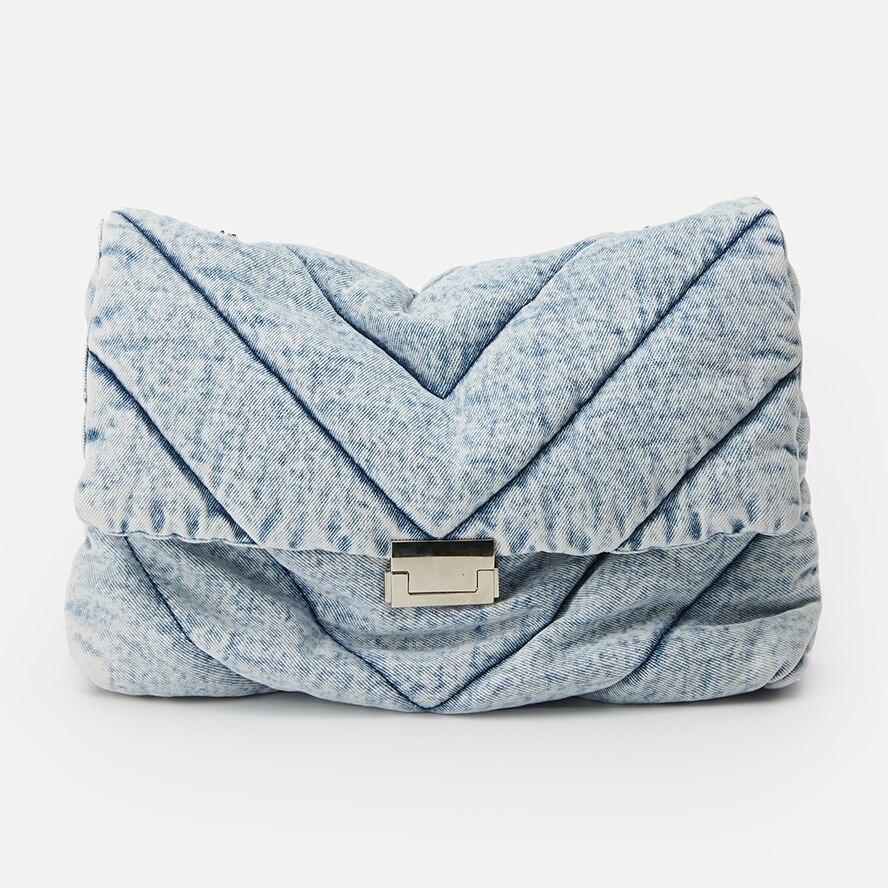 Denim Women's Bag Quilting Women's Handbag Solid Fashion Women Shoulder Bag Metal Chain Lady Totes Flap Lady Bags For Women 2020