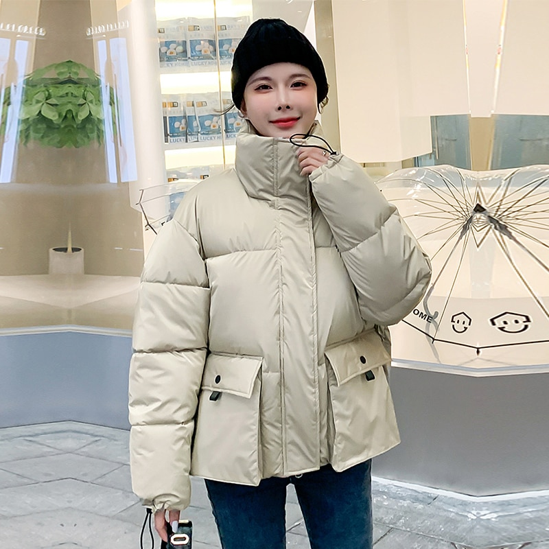 big stand up 2019 02 16t21 00 Short Stand Collar Parka Fashion Oversize Winter Jackets For Women 2021 New Casual Big Pocket Thick Warm Parka Coat