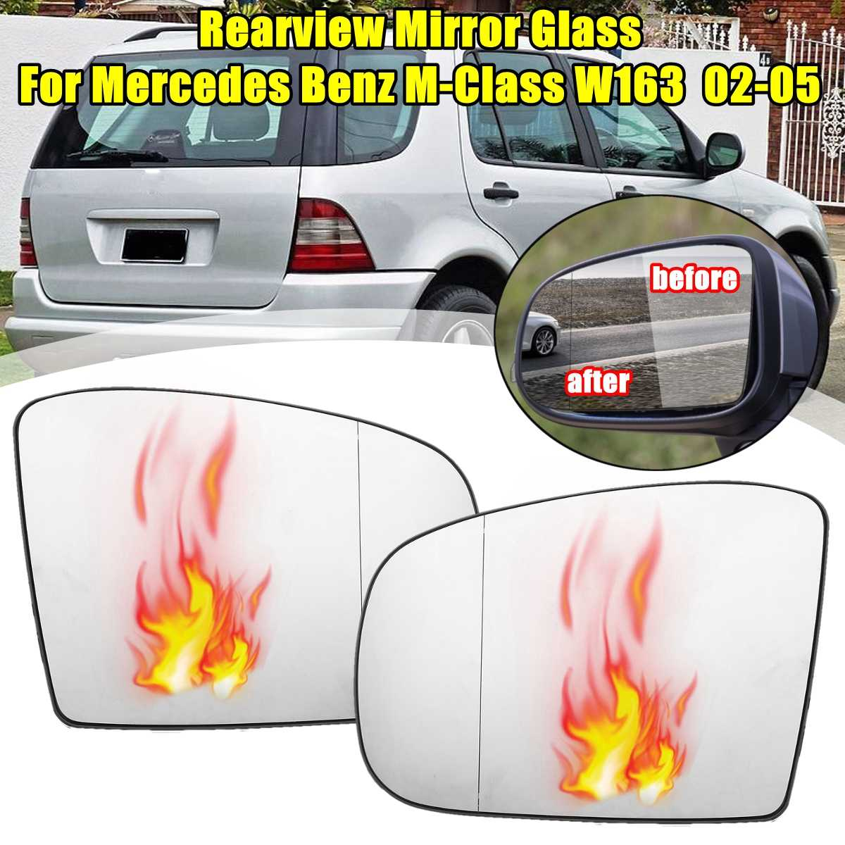 Esquerda/Direita Antifog Espelho Retrovisor Aquecido Vidro Do Espelho Do Lado do Porta Do Carro Para Mercedes Benz para M-Classe W163 2002 2003 2004 2005