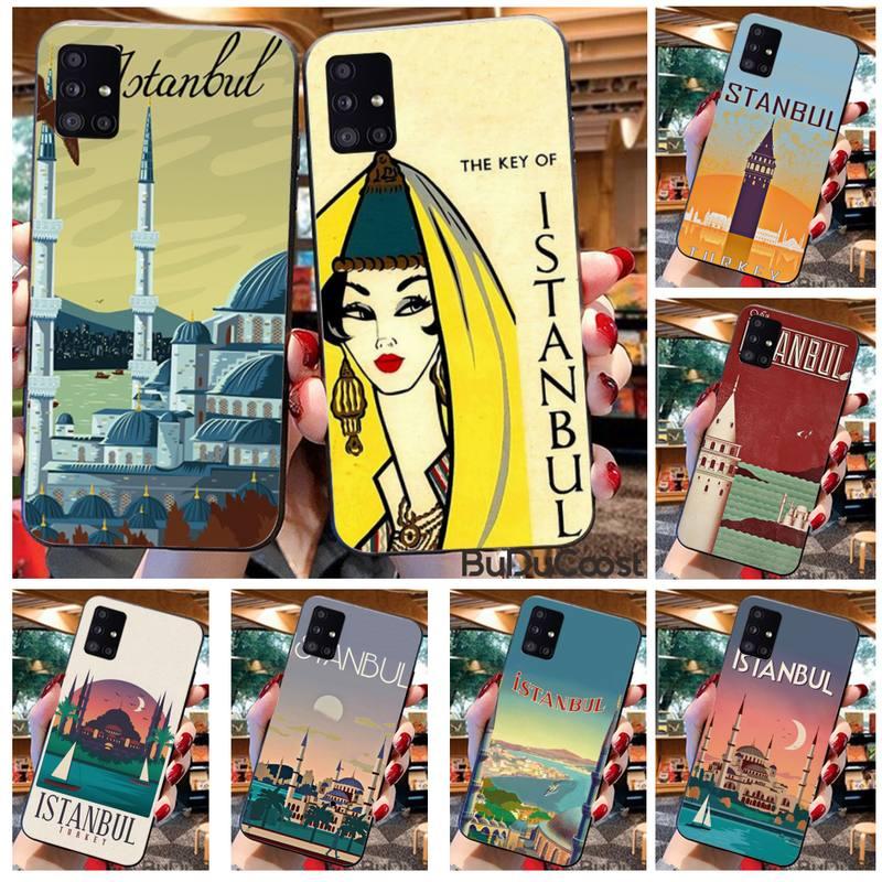 Turkey Istanbul travel poster Phone Case For Samsung A10 A20 A30 A40 A50 A70 A71 A51 A6 A8 2018