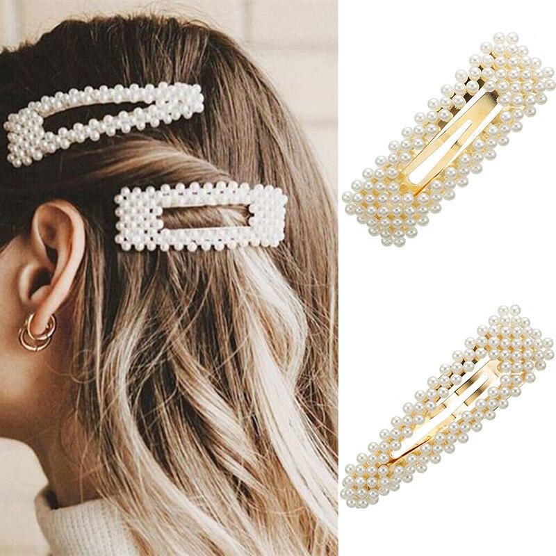 Horquillas de imitación de flores y perlas de Corea, pasadores largos Vintage, Clips para el cabello elegantes, accesorios metálicos para cabello, horquillas