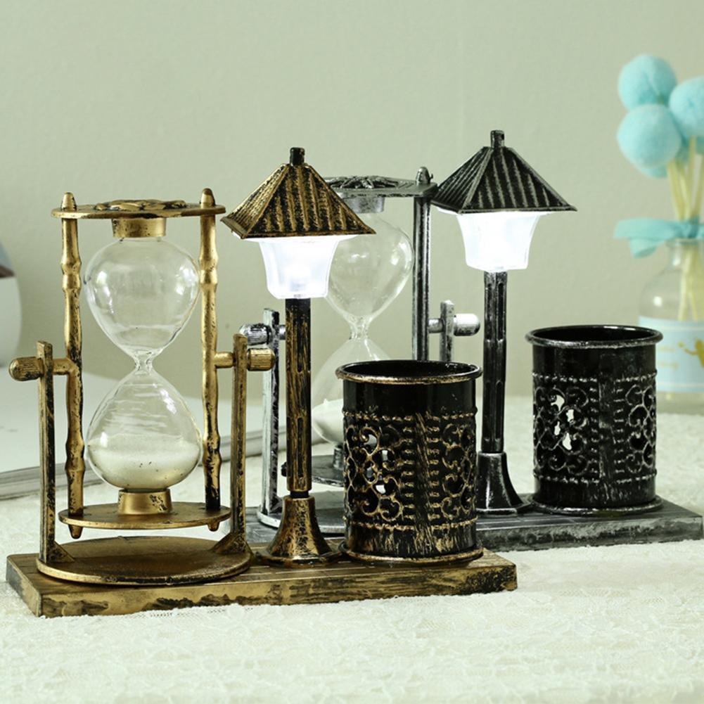 Reloj de arena creativo Retro reloj de arena con soporte de pluma intermitente lámpara de noche para regalo de decoración del hogar de mesa