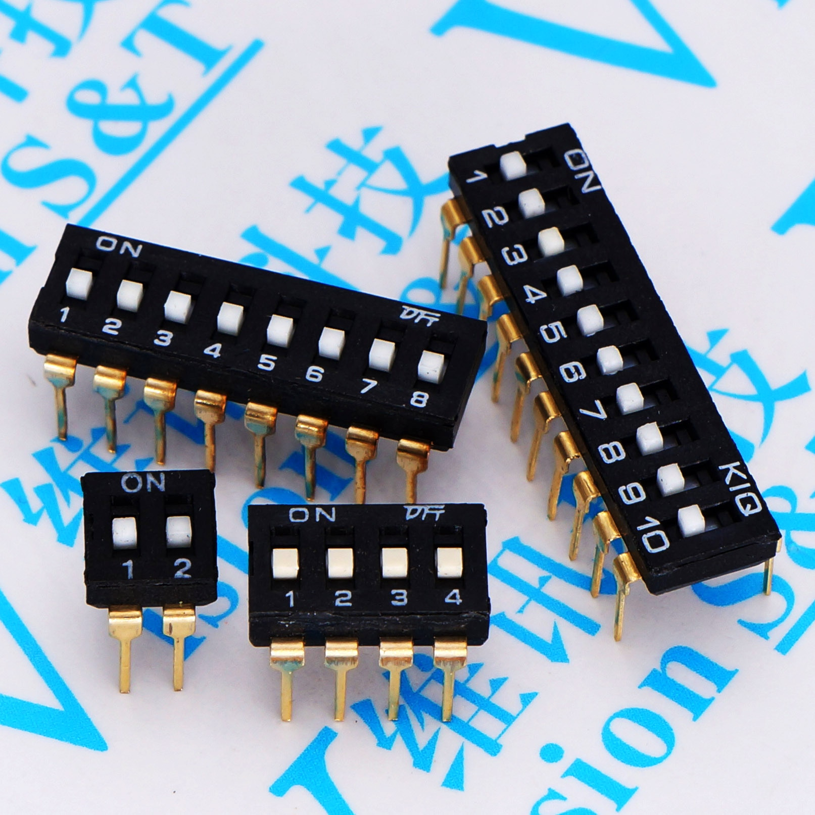 10 pces linha preta estreita dip switch 2.54mm 2.54 ki 1/2/3/4/5/6/8 p bit conector