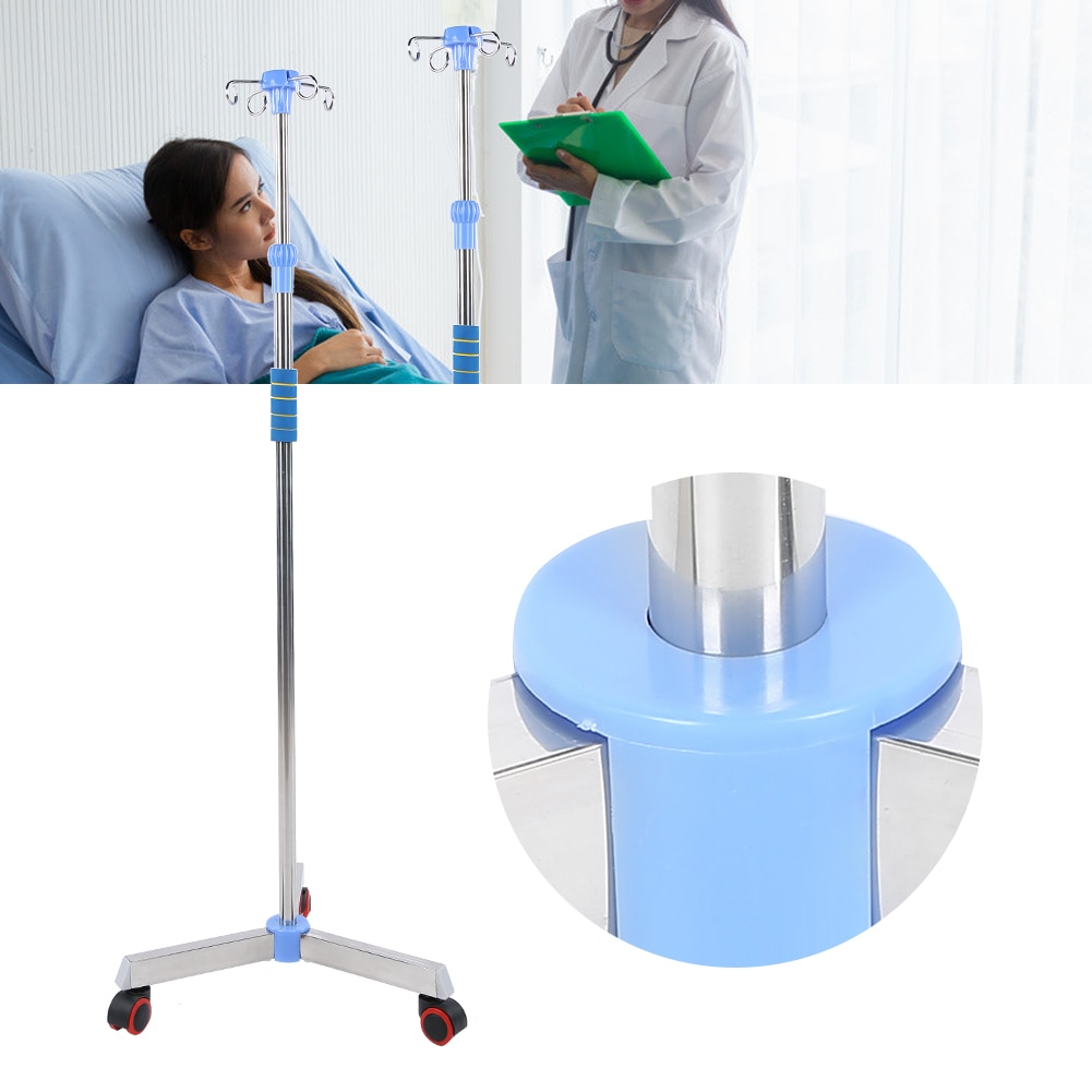 Stainless Steel IV Pole Adjustable IV Drip Stand Infusion Holder Convenient Move with 4 Hooks & Wheels For Home Care Clinic New