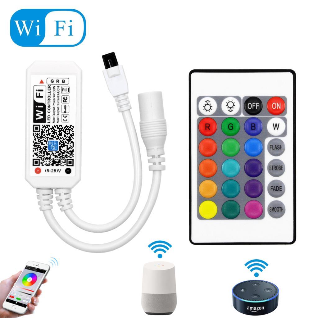 DC12-28V MINI WIFI RGB/RGBW controlador de tira controlador de música por Amazon Alexa Google Home teléfono WIFI controlador para tira de luz