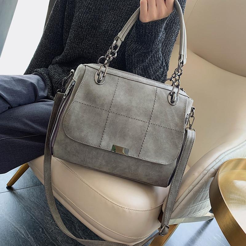 Retro Frosted Tote Bags for Women 2021 Luxury Leather Crossbody Hand Bag Big Matte Boston Handbag Gray Scrub Female Shoulder Bag