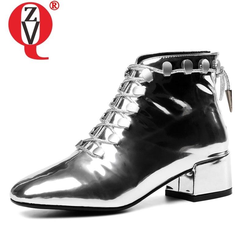 ZVQ otoño nuevas botas de tobillo de moda fuera de tacones bajos de punta cuadrada cruzada de cuero genuino zapatos de mujer de talla grande envío de la gota