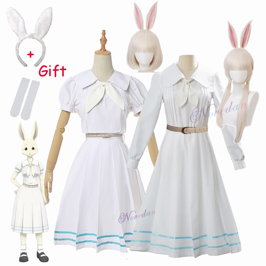 Anime Beastars Haru Cosplay Costume Uniform White Rabbit Animal Cute Kawaii Dress And Wig For Women