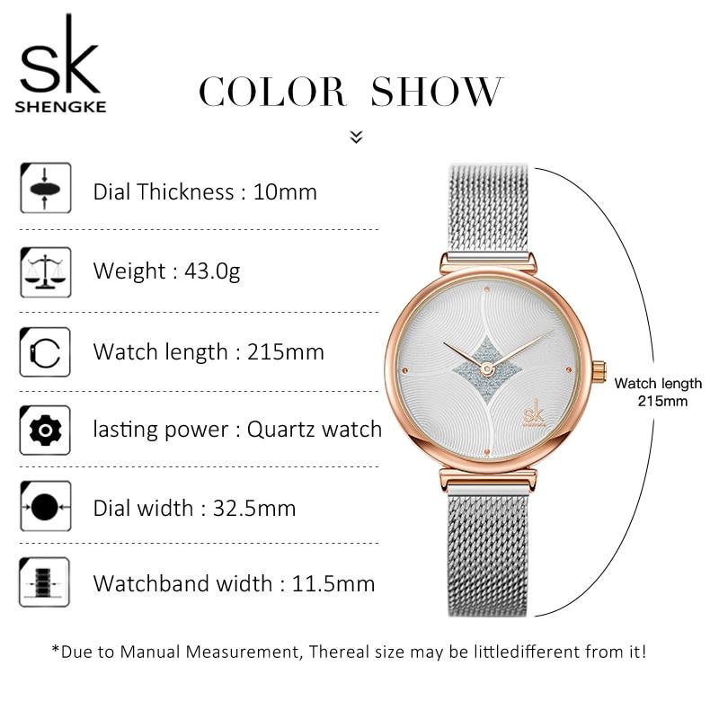 Shengke Fashion Women Watch Ripple Texture Small Dial Silver Mesh Band Japanese Quartz Movement Wrist Watches Relogio Feminino enlarge