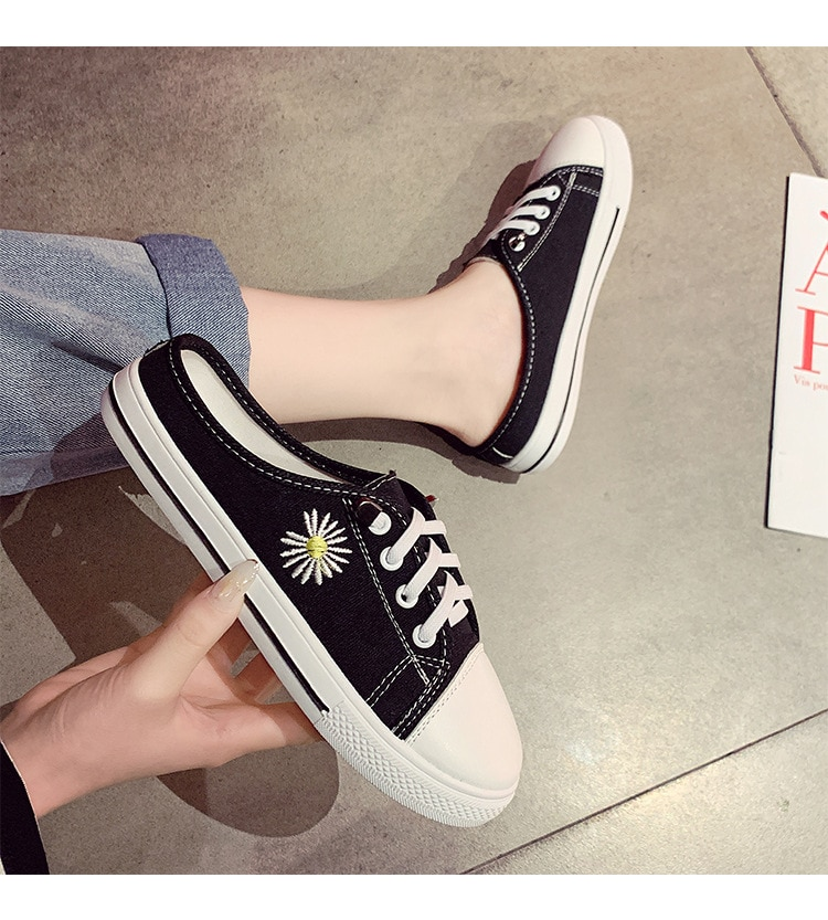 2021 Summer New Round Toe Shoes Woman Lazy Pedal Women's Shoes Spring And Simple Style Canvas Shoes Casual Female Sneakers Flats