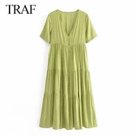 traf za women clothes dress fashion vintage short sleeve solid color ruffled dresses woman button up pleated casual green dress